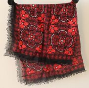Alexander Mcqueen Silk Red Stained Glass Window Print Scarf