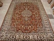 New Burnt Orange Rust Floral Hand Knotted Area Rug Wool Silk Carpet 9 X 6and039