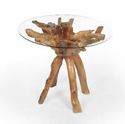 Rustic Teak Wood Root Bar Table Including 36 Inch Glass Top Made By Chic Teak