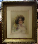 Victorian C.1900 Detti Watercolor Frame Painting Gypsy 21x25 Amazing Picture