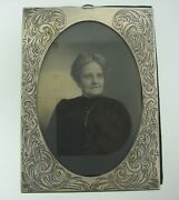 Victorian C.1900 Antique Picture Frame Sterling Silver Oval