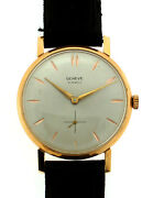 Geneve 21 Jewels 18k 750 Gold Stamped Leather Strap Watch C1960 Vintage