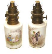 C.1900 Victorian Antique Porcelain Hand Painted Paor Of 2 Lamps Lamp Collectible