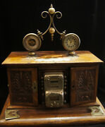 C.1900 Victorian Clydsedale Unique Desk Set Wood Clock Inkwell Sterling Silver