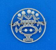 Antique C.1910's And Co. Diamond Pearl Platinum Pin Brooch
