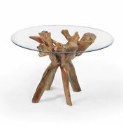 Rustic Teak Wood Root Bar Table Including 47 Inch Glass Top Made By Chic Teak
