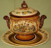 Antique Villeroy And Boch Mettlach Germany Porcelain Punch Bowl W/underplate 1882