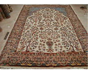 Tree Of Life Peace Birds Area Rug Wool Silk Hand Knotted Carpet 10.4 X 7.2'