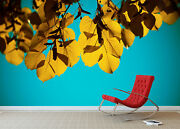 3d Yellow Leaves Sky 52 Wall Paper Wall Print Decal Wall Deco Indoor Mural Lemon