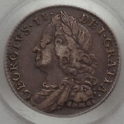1758 Great Britain 6d Pcgs Vf 35 Six Pence King George Ii Free Shipping