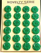 Vintage Buttons - 24 Emerald Green Casein 2-hole Wheel Buttons - Made In France