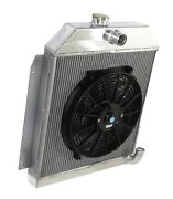 Fit 49-52 Plymouth Chrysler Coupe Sedan 6cyl 3 Row Performance Radiator+14fan