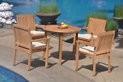 A-grade Teak 5pc Dining 36 Round Table 4 Leveb Stacking Arm Chair Set Outdoor