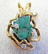 Unique Chatham Grown Synthetic Emerald And Diamond Pendant 14k Gold Make Offer