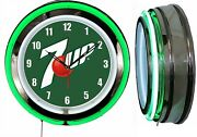 7 Up Green Sign 19 Double Neon Green Neon Clock Man Cave Bar Garage Shop