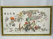 Monumental Framed Antique Early 20c Chinese Silk Embroidery Bird Panel 48x28