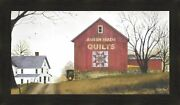 Quilt Barn By Billy Jacobs 20x34 Framed Picture Folk Art Farm Amish Made Quilts