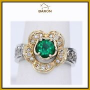 Emerald Ring Vintage 14k Two Tone Gold Diamonds Emerald Ring Size 6 Md35
