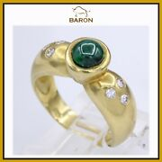Emerald Ring Vintage 14k Yellow Gold Diamond Emerald Ring Size 7 Md41