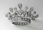 Art Nouveau 35 Diamond Crown Tiara White Gold 14k Brooch Pin Certificate