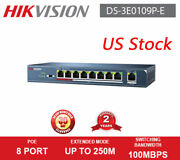 Hikvision 8 Port 100mbps Unmanaged Power Over Ethernet Poe Switch Ds-3e0109p-e