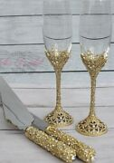 Gorgeous Champagne Glass Set Sparkling Cake Server And Knife Set Wedding Toast