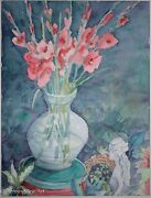 Beautiful Watercolor Of Red Floral Vase And Pixie Signed J. Robinson Nice@