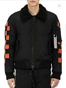 Off-white C/o Virgil Abloh Embroidered Crop Bomber Jacket Retail 2025