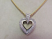1.50 Ctw Baguette And Round Diamond Heart Necklace 18 In. 14k Gold Make Offer