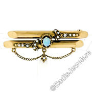 Antique Victorian 14k Gold Opal Seed And Natural Pearl Dangle Dual Bar Brooch Pin