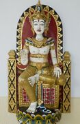 Antique Colorful Large Wood Carved Temple Buddha Buddhist Asian Deity Art Statue