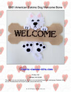 American Eskimo Dog And Bone Welcome Sign- Plastic Canvas Pattern Or Kit