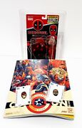 Rob Liefeld Signed Wooden Push Puppet Deadpool And Cable Psa Ae39014 2018 Sdcc
