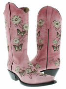 Womens Casual Pink Western Cowboy Cowgirl Leather Boots Butterfly Flowers Snip