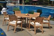 A-grade Teak 7pc Dining 60 Round Table 6 Vellore Stacking Arm Chair Set Outdoor