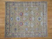 8'1x9'7 Textured Ancient Sultanabad Design Silk With Oxidized Wool Rug G41842