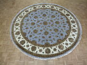 10 X 10 Round Hand Knotted Sky Blue Persian Tabriz With Silk Oriental Rug G6106
