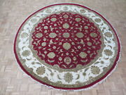 10 X 10and0391 Round Hand Knotted Red Persian Tabriz With Silk Oriental Rug G6105