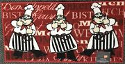 Extra Long Textured Kitchen Rug 20x40 3 Fat Chefs2 Thumbs Up Rect.red Kd