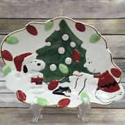 Lenox Peanuts Charlie Brown Snoopy's Christmas Canape Plate 10