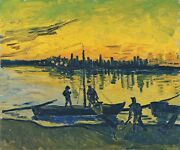 Vincent Van Gogh Coal Barges 1888 Hand Painted Canvas Oil Painting