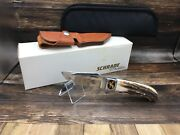 Schrade Dand039holder Sh03 Genuine Stag Fixed Blade Hunting Knife And Sheath Mint Box