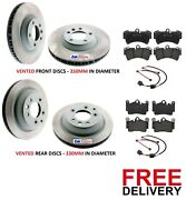 For Audi Q7 3.0 Tdi Quattro 4.2 S Line Front And Rear Brake Discs And Pads Sensors