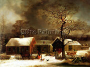 George Henry Durrie Winter Scene New Haven Artist Painting Oil Canvas Repro Deco