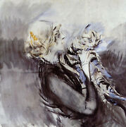 Boldini Giovanni A Lady With A Cat Artist Painting Oil Canvas Repro Art Deco