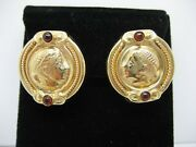 14k Yellow Gold Vicenza Coin Earrings With Cabochon Garnet And Omega Backs