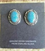 Navajo Denim Lapis Earrings Silver Post Native American Signed Collectible Usa