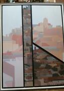 Original Art By John Kuhn Mid Century Modern Cityscape Large Four Canvases