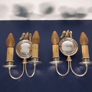Early Art Deco-artsandcrafts Nickel Over Brass Sconces With Eagle Finials 62e