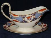 Spode Shima Smooth Floral Border And Center Blue Imari Y8172 Gravy Boat And Liner
